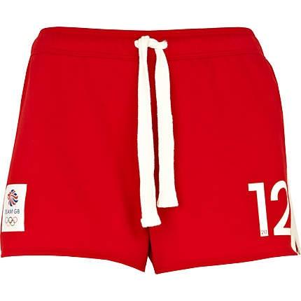 red team gb print shorts - casual shorts - shorts - women - River Island