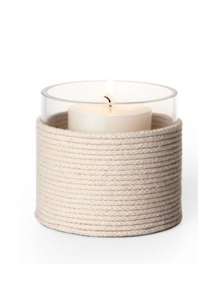 Nautical Wedding Idea: Cord-Wrapped Candles. Dot centerpieces with flickering votive vessels wrapped in rope. Starting at the bottom, wrap a glass cylinder (for candles or flowers) with cotton venetian blind cord, JamaliGarden.com. Tuck ends under rope and reinforce with a drop of craft glue.
