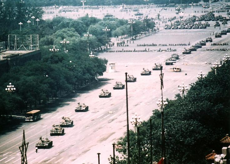 June 4, 1989. Tank Man in full scale. Photo by Arthur Tsang Hin Wah. This protester held back the tanks for half an hour.