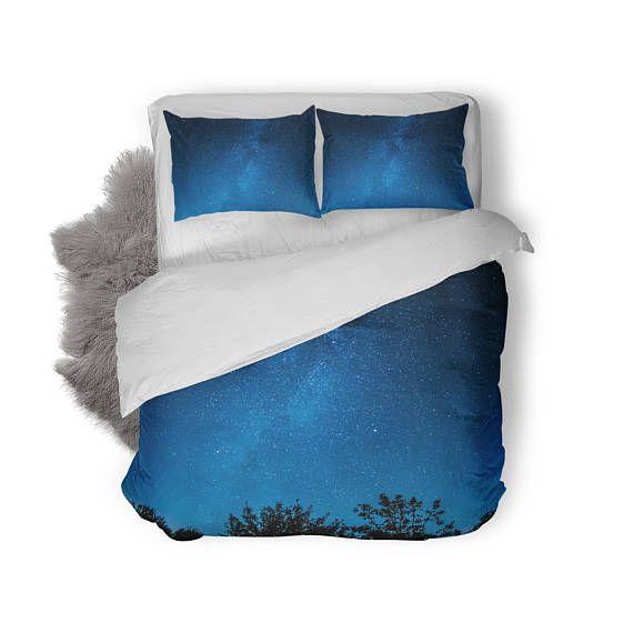 Cosmos Duvet Cover   Space Bedding   Bedding Set   King Duvet Cover   Custom Bedding   Astronomy   Night Sky   Blue Bedroom Decor   Stars
