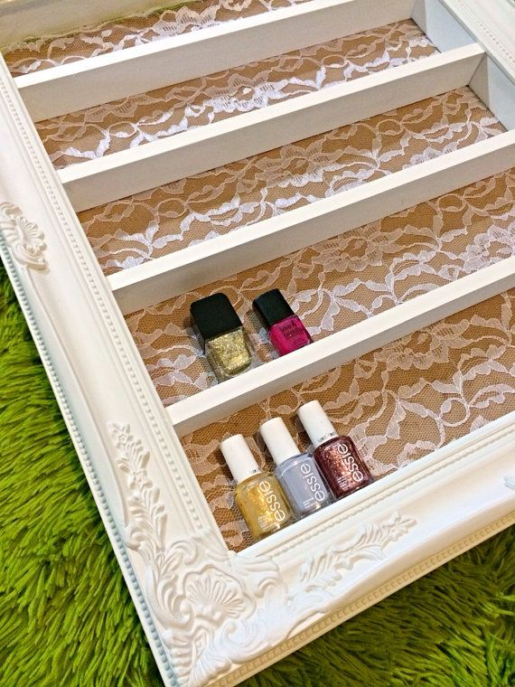 Baroque White Lace Nail Polish & Makeup Display by DaintyCreations