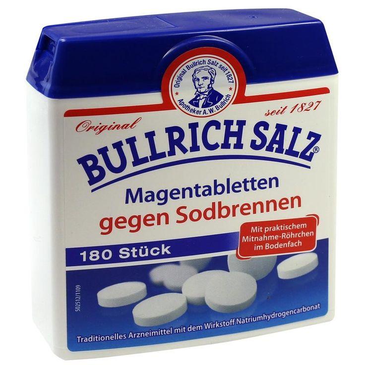 BULLRICH Salz Magentabletten gegen Sodbrennen:   Packungsinhalt: 180 St Tabletten PZN: 03977089 Hersteller: delta pronatura Dr. Krauss &…