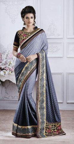 Charismatic Grey Designer Embroidered Jacquard Saree