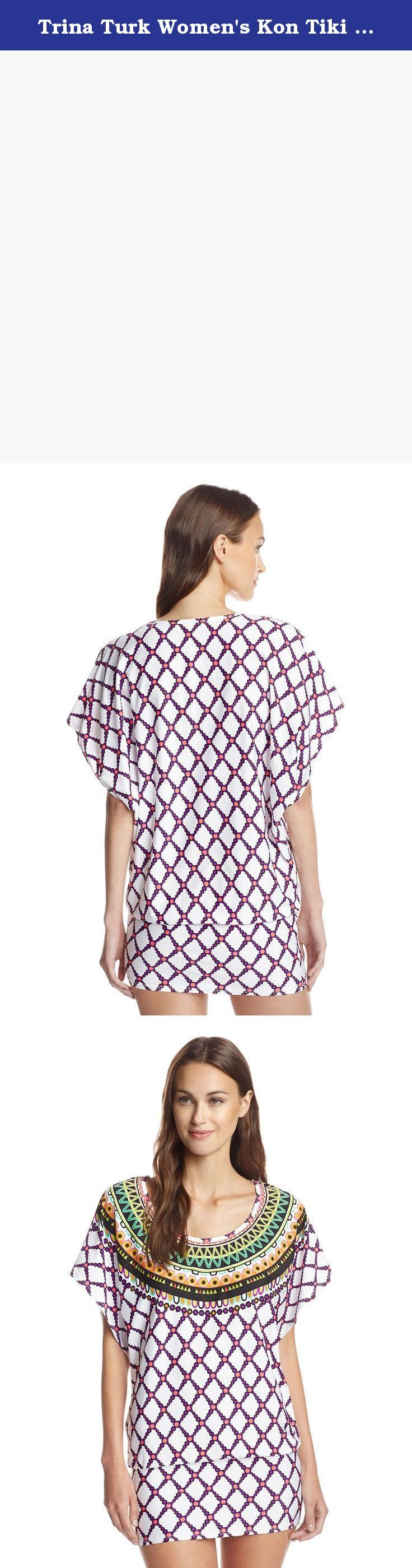 Trina Turk Women's Kon Tiki Tunic, White, L. Colorfully-printed scoopneck tunic with relaxed fit bodice and fitted hem, loose-fit sleeves.