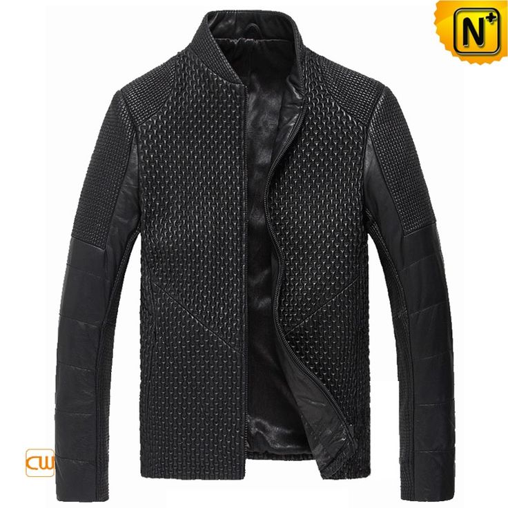 Funky fitted black Italian leather jacket for men crafted from finest  quality enduring sheep leather fabric