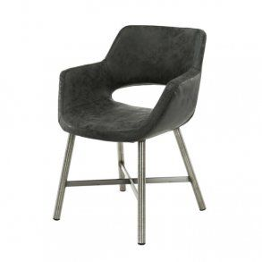 Tupps - spisebordsstol i stål og sort læder