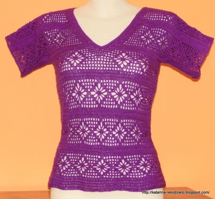 Koronkowa śliwkowa bluzka  #crochet blouse