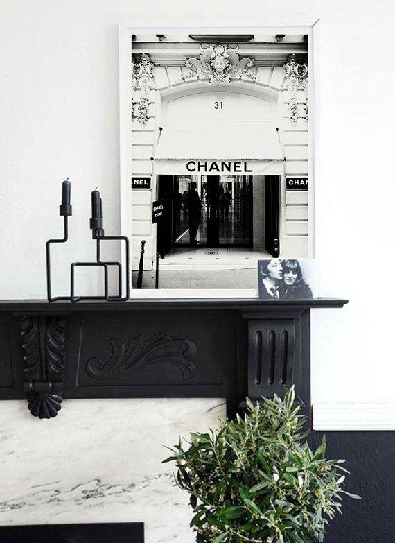 Chanel Boutique-Plakat. 31 rue Cambon Boutique Paris. Vintage Mode Posterdruck. Fotografie-Paris. Alte Fotografie Mode.  Augenblick