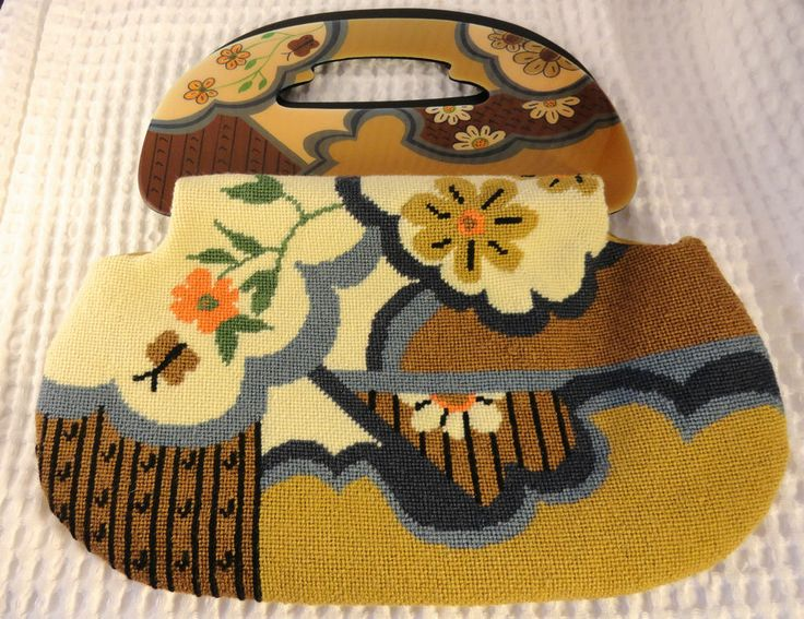Vintage Needlepoint Purse Moon Bag Big Handle Flowers Tapestry Patricia Smith