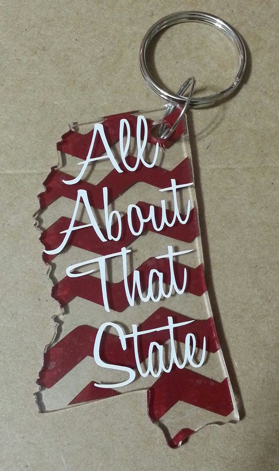 """Mississippi state Personalized Keychain """"All About That State"""" by PrettyParfait"""