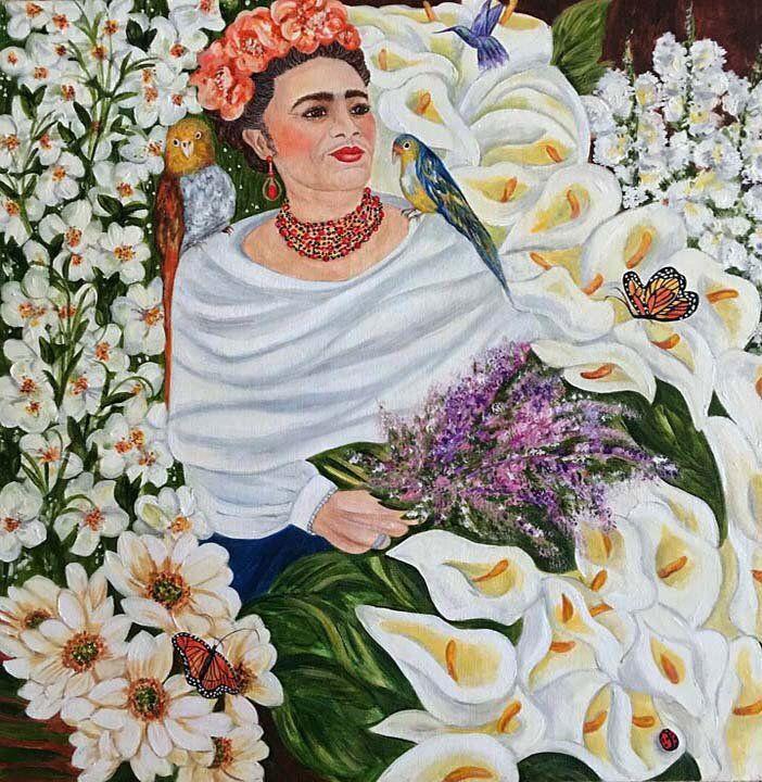 Frida Kahlo, Frida Kahlo Oil Painting, Cala Lillie Flowers