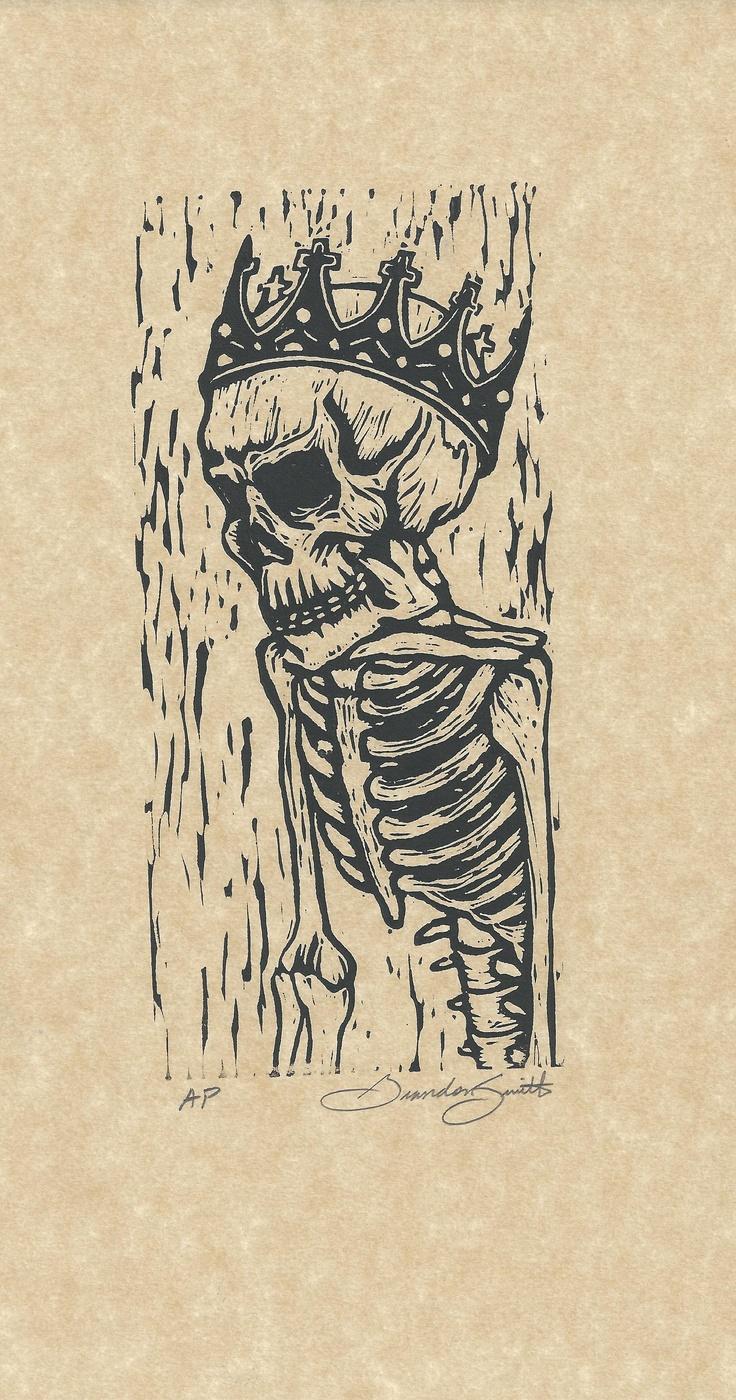 King of Fools linoleum print