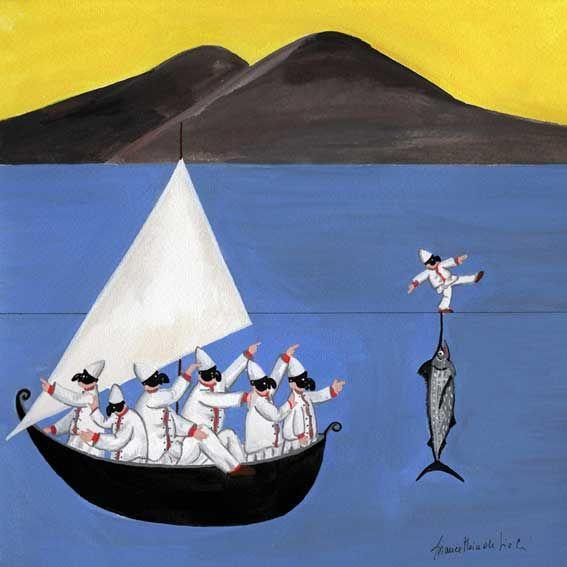 Sailing Happy Pulcinella blue sea Italy painting by Bianca Maria de Sio Cesari
