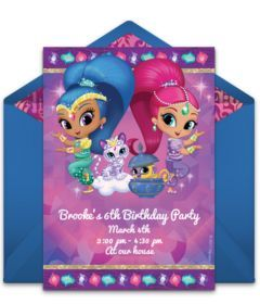 Customizable, free Shimmer and Shine online invitations. Easy to personalize and send for a Shimmer and Shine birthday party. #punchbowl