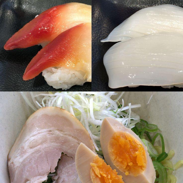 かっぱ寿司にて ほっき貝+やりいかの #お寿司 に #たっぷりネギ油そば