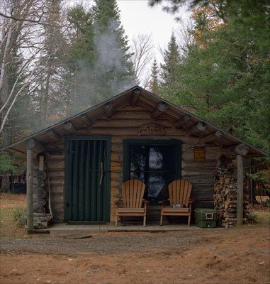 cabin with a green door