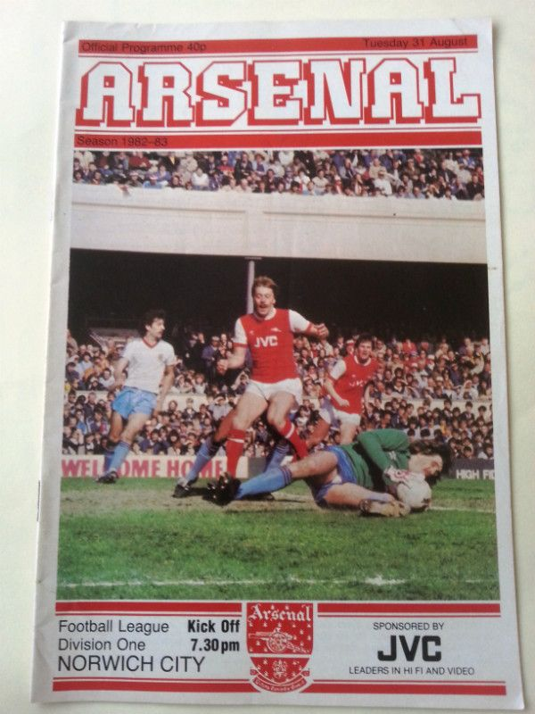 Arsenal v Norwich City Football Programme 31/08/1982 Listing in the First Division Fixtures,1980-1992,League Fixtures,English Leagues,Football (Soccer),Sports Programmes,Sport Memorabilia & Cards Category on eBid United Kingdom