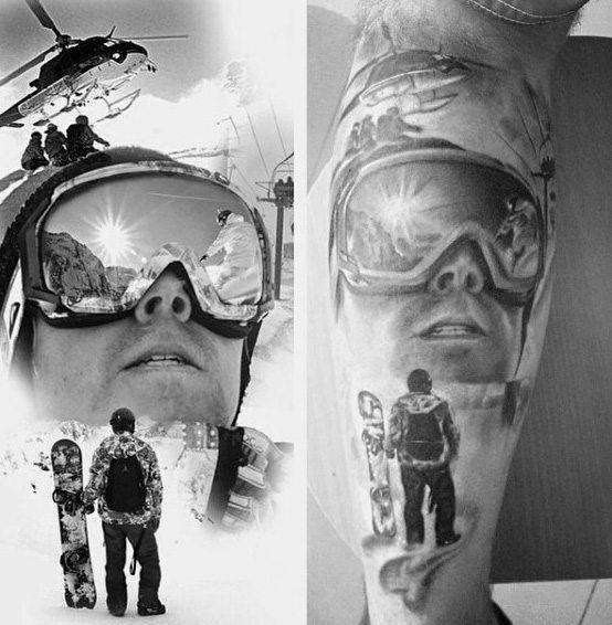 Realistische Snowboard Tattoo Männer Arme