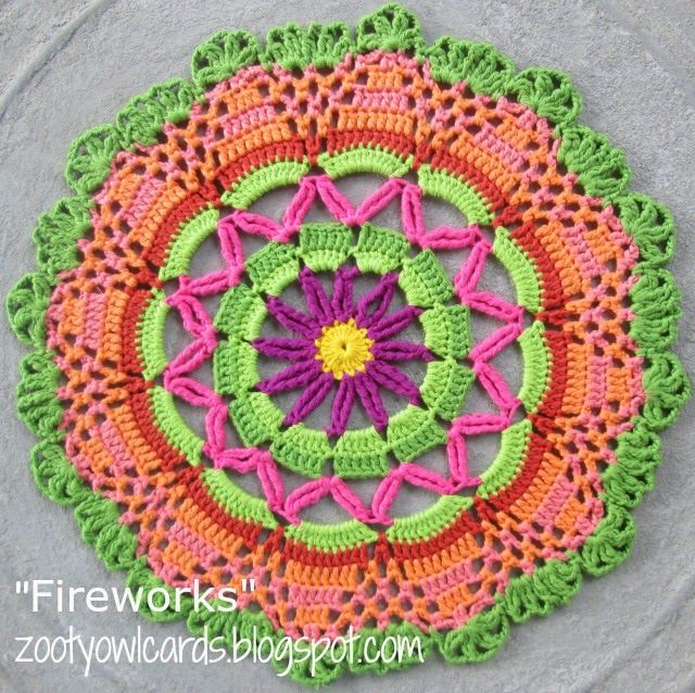 Fireworks Doily / Mandala. Free crochet pattern from Zooty Owl.