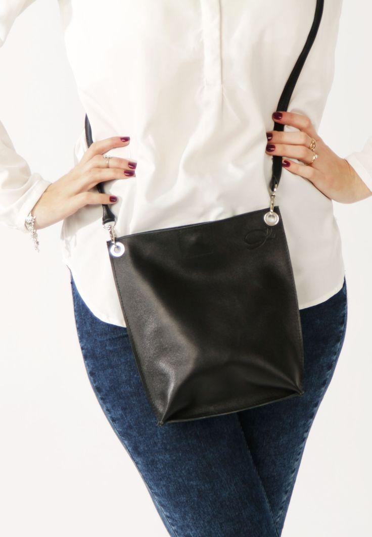 Small Leather Bag by A-Rada / Black Cross Body Bag / Small Leather Purse / Черная кожаная сумка кросс боди