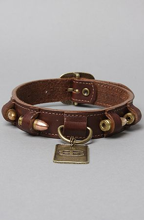 The 9mm Dog Collar in Brown & Vintage Brass Bullets 2 Bandages