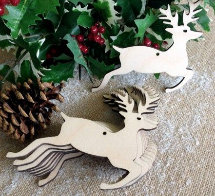 Wooden Christmas Stag Decorations