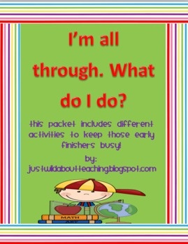 Early Finishers Packet-Cute: Classroom Idea, Finish Early, Early Finishers, Students Finish, Earlier Finish, Do You, Classroom Management, Finish Packets Cut, Work Early
