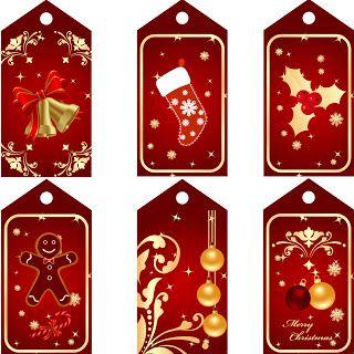 много Бесплатно для печати Рождественские Теги Красный