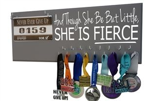 And though she be but little she is fierce medal hanger holder display bibs