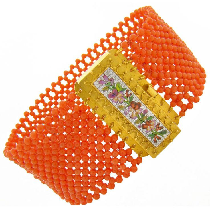 Micro Mosaic & Beaded Coral Victorian Bracelet | From a unique collection of vintage beaded bracelets at https://www.1stdibs.com/jewelry/bracelets/beaded-bracelets/