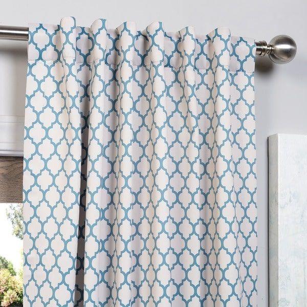 Exclusive Fabrics Casablanca Aqua/ Beige Pole Pocket Blackout Curtain Panel Pair