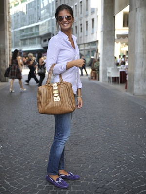 Milan Street Style- purple shoes are awesome!