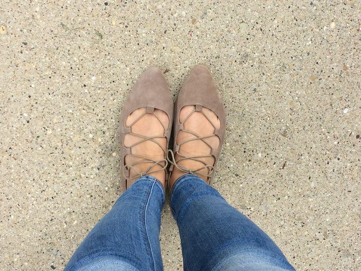 Lace up ballet flats, Women's Fashion, fall shoes, fall fashions