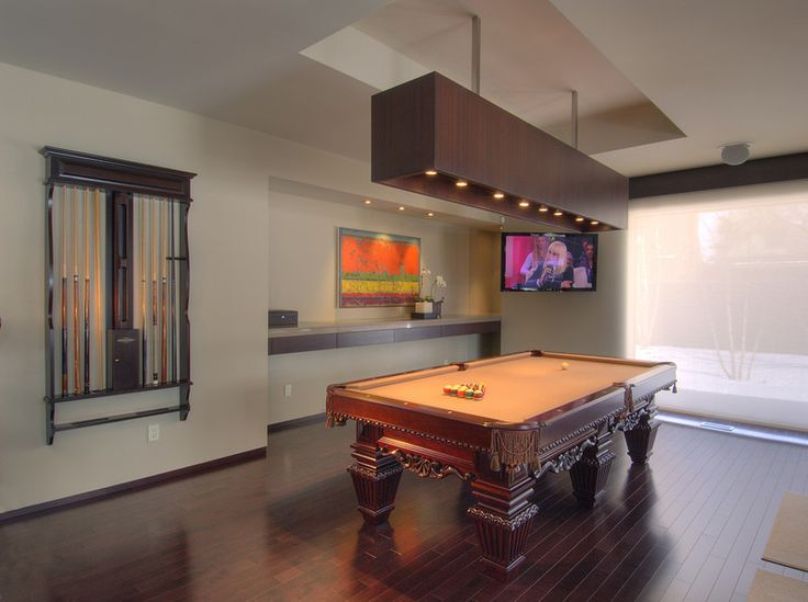 Contemporary Family Room by London Audio Ltd-Loving the fresh, contemporary, long, shade in the pendant lighting over the pool table and it looks like it is providing enough light to play.