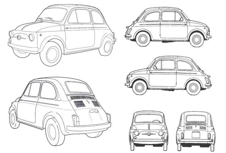 Fiat 500 drawings