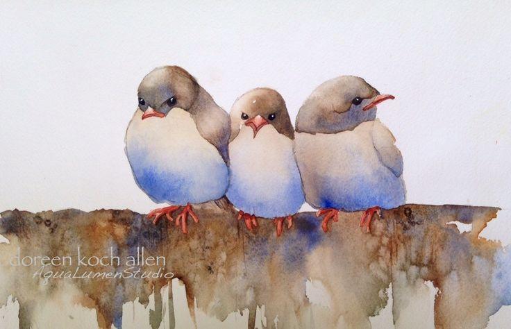 Aves acuarela 8 x 10 impresión Archival de la por aqualumenstudio