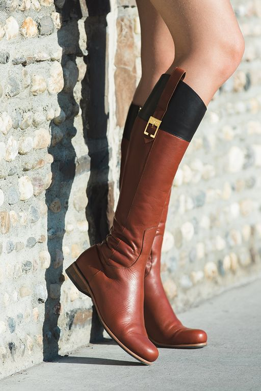 Our Poppy Barley cognac black, tall, all-leather, flat Foxhunt Boot. Made-to-Measure in sizes 5-12 and made to fit narrow, standard or wide feet. They make for the perfect fall boot with comfort and style | PB Fall15 Lookbook