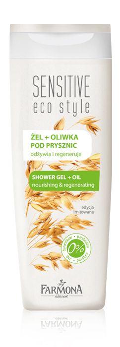 SHOWER GEL + OIL nourishing & regenerating   Jedwabisty żel pod prysznic o delikatnej, oliwkowej konsystencji i przyjemnym zapachu przeznaczony jest do mycia i codziennej pielęgnacji każdego rodzaju skóry, również wrażliwej ♥ http://farmona.pl/produkty/pielegnacja-ciala/sensitive-eco-style/zel-oliwka-pod-prysznic/