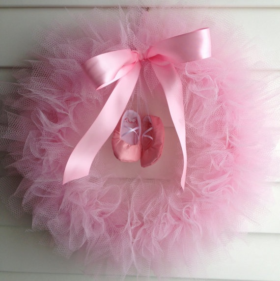 Ballerina Party Tutu Wreath/ It's a Girl Wreath  14 by shopfluff, $35.00
