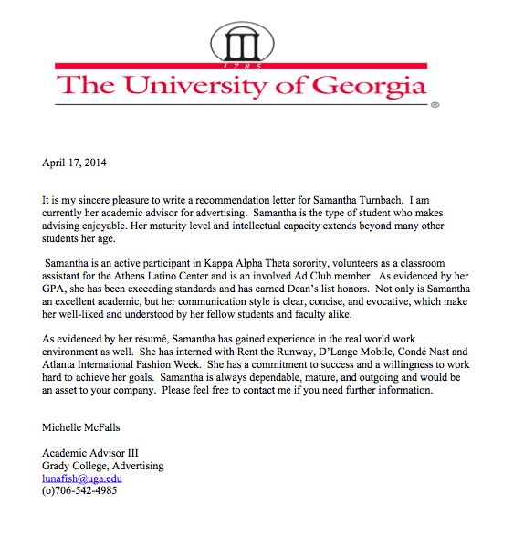 Letter Of Recommendation From Ms. Mcfalls, Director Of Grady'S