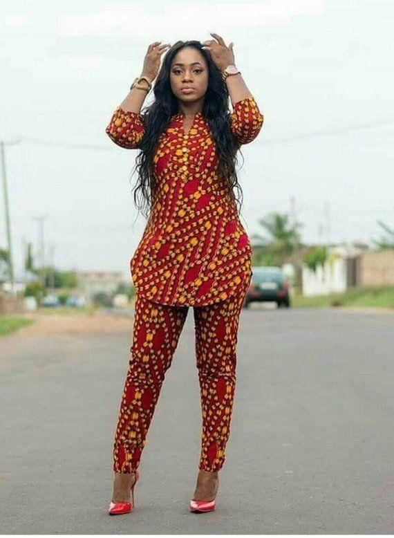 a8758bc3c0651 African Clothing  Ankara Blouse and Pant  African Print  Ankara Print