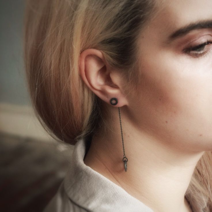 """The lovely Maggie, modelling some """"Taer Jewellery"""" oxidised silver jacket earrings 👌"""