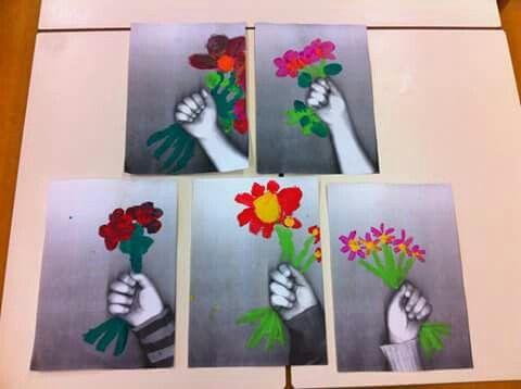 Hand kopiëren, bloemen schilderen - Moederdag ♥ ℳ ♥