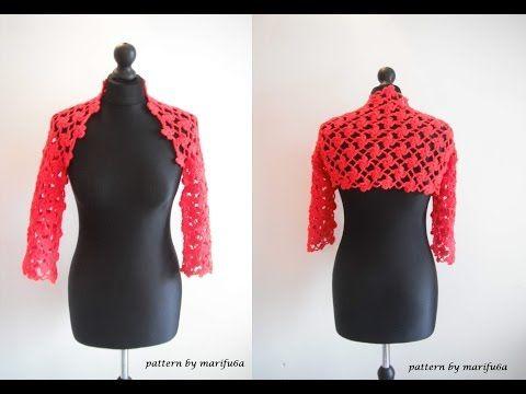▶ how to crochet flower red bolero shrug for beginners free pattern tutorial by marifu6a - YouTube