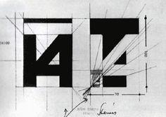 1968 Albe Steiner studi per il marchio della XIV Triennale di Milano