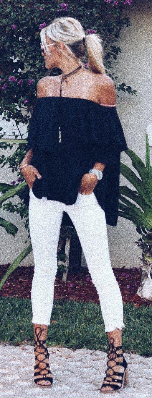#summer #outfits Black Off The Shoulder Top   White Crop Jeans   Black Sandals