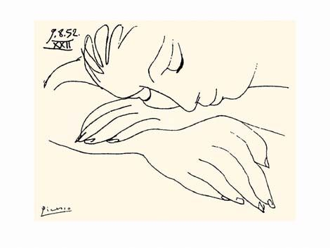 Picasso drawing - sleeping woman.