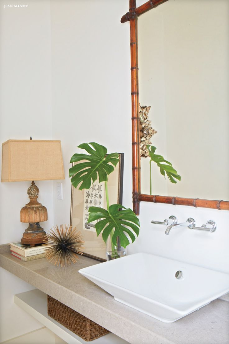 Tropical bathroom feel.                                                                                                                                                      More