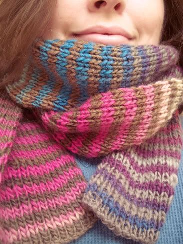 "Fossilized Pegasus Scarf. ""Noro Striped Scarf"" pattern by Jared Flood."