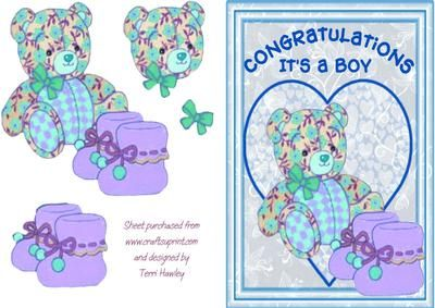 Congratulations on the birth of a baby boy. A very special first card, for the little man.